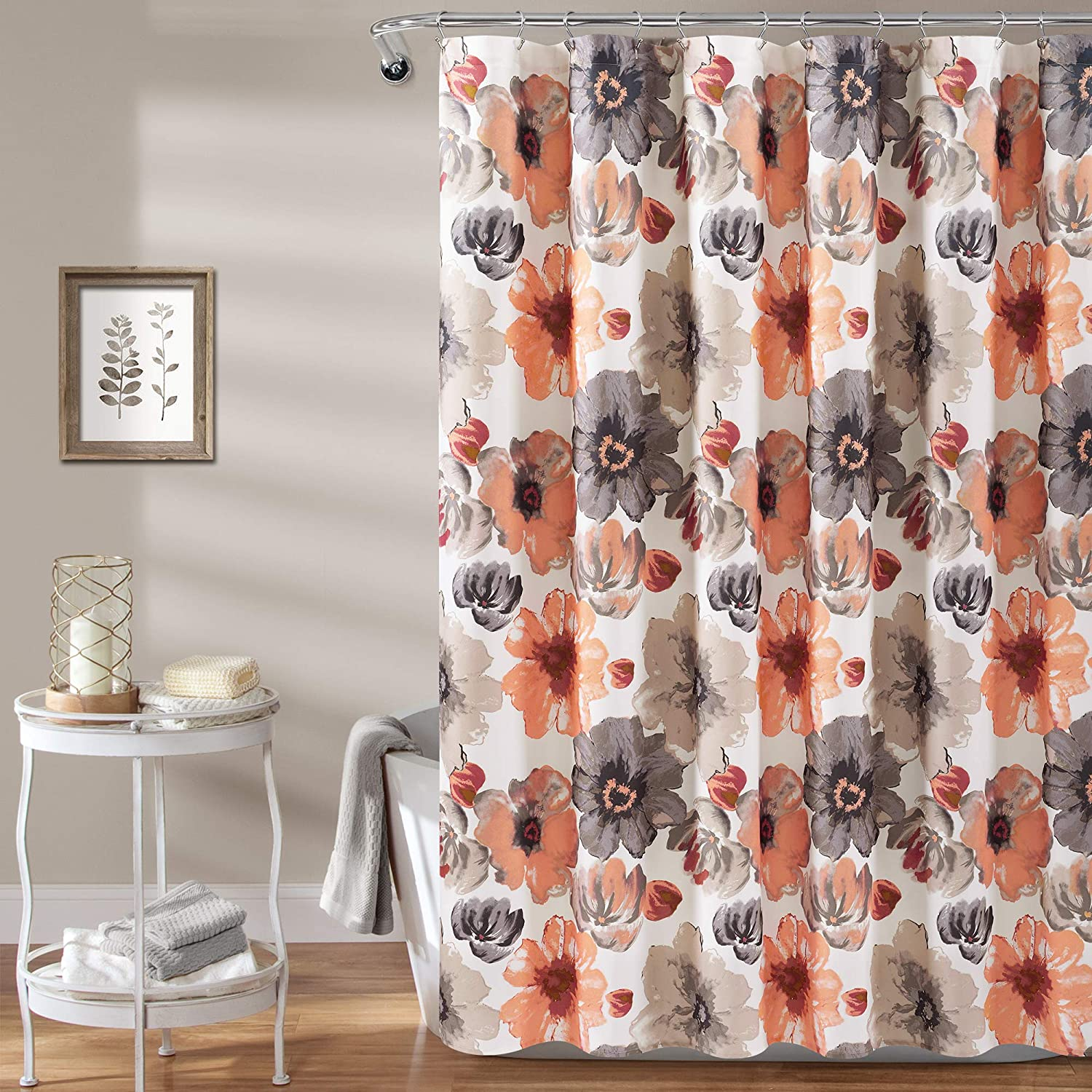 "Lush Decor Leah Shower Curtain-Bathroom Flower Floral Large Blooms Fabric Print Design, x 72"", Coral/Gray"