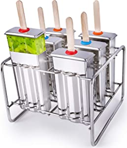 Stainless Steel Popsicle Molds BPA Free – Eco Friendly, Rust-Resistant Popsicle Maker Set – 6 Ice Pop Molds w/Matching Rack – Leak-Proof Silicone Seals – Classic Design for Easy Removal and Clean-Up!