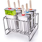 Stainless Steel Popsicle Molds BPA Free – Eco Friendly, Rust-Resistant Popsicle Maker Set – 6 Ice Pop Molds w/ Matching Rack