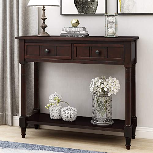 P PURLOVE Sofa Table Antique Style Wooden Console Table with 2 Drawers and Bottom Shelf Dark Espresso
