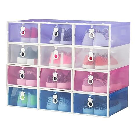 Caja para zapatos Smilun, transparente, plegable, con pomo de oso, color blanco