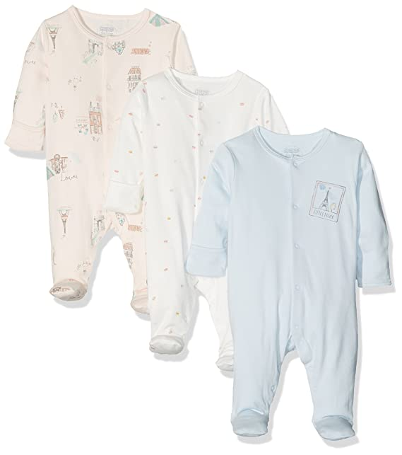 Mamas & Papas 3PK Paris Sleepsuits, Pijama para Bebés, Multicoloured (Pink/Blue