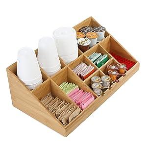 Mind Reader COMORGBM-BRN 11 Compartment Coffee Condiment Organizer, Brown Bamboo