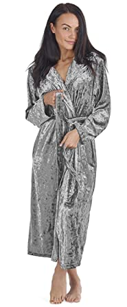 CityComfort Bata Mujer de Invierno en Terciopelo con Capucha y Bolsillos Albornoces (S (8
