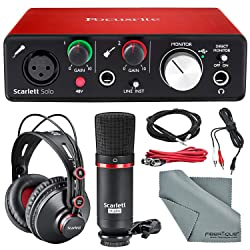 Focusrite Scarlett Solo Studio Kit Bundle -Contains Focusrite Scarlett Solo USB Audio Interface + CM25 Condenser Microphone + HP60 Studio Headphones and + Cables,