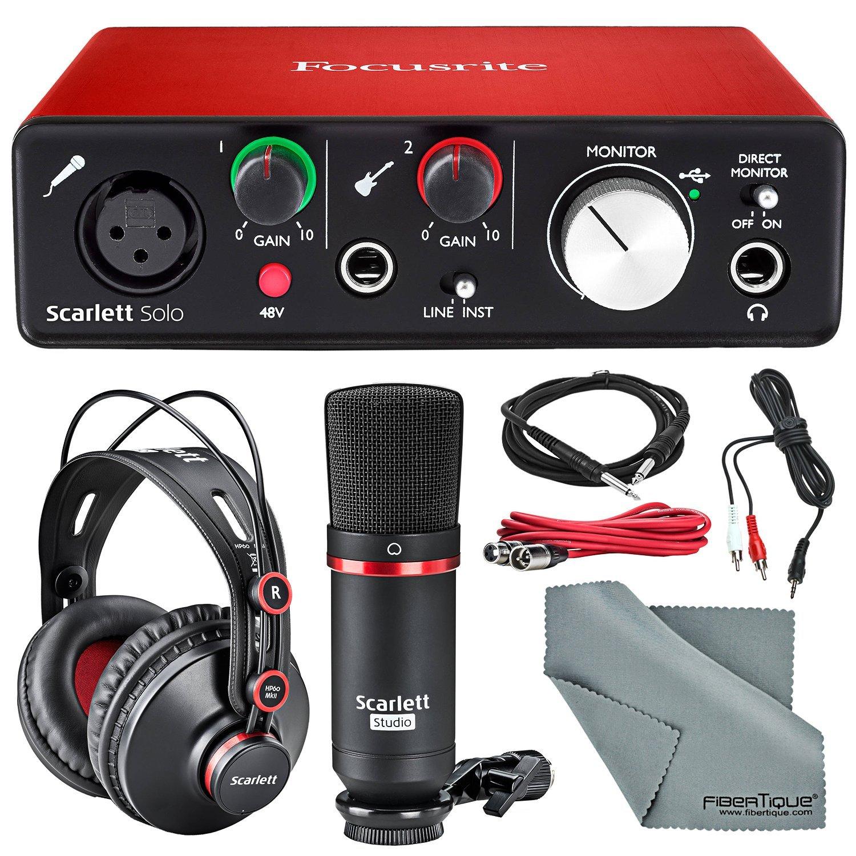 Focusrite Scarlett Solo Studio Kit Bundle –Contains Focusrite Scarlett Solo USB Audio Interface + CM25 Condenser Microphone + HP60 Studio Headphones and + Cables, Fibertique Cleaning Cloth