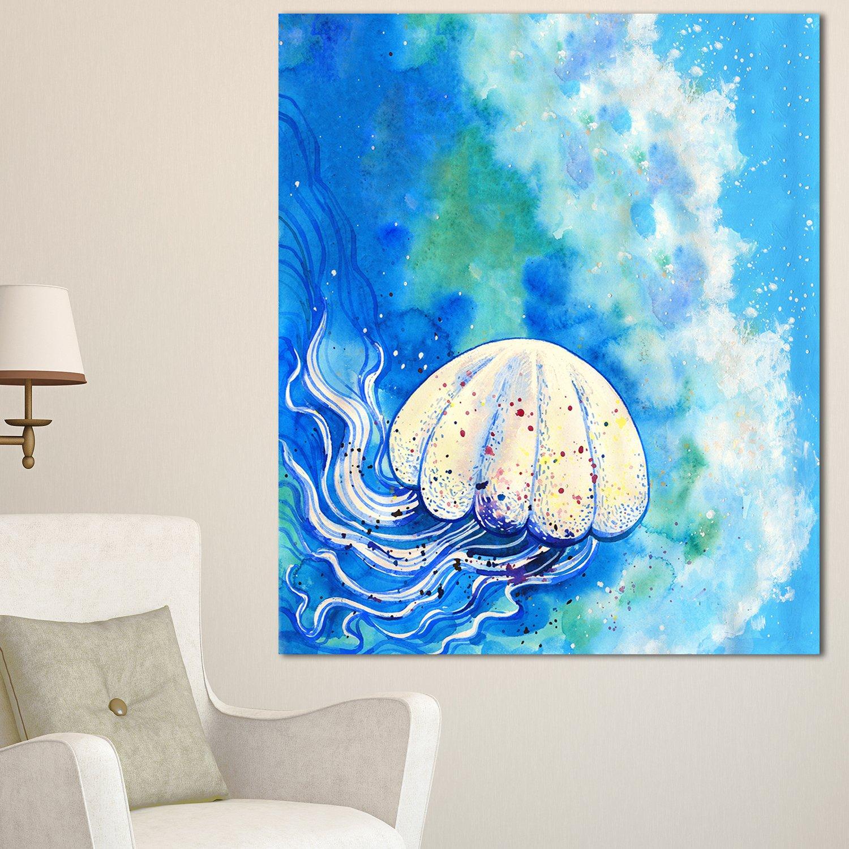 Designart Mt13308 12 28 Large Jellyfish Watercolor Animal Metal Wall Art 12x28 Blue 12x28 Amazon In Home Kitchen