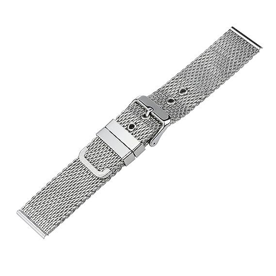 18 mm correas de relojes de lujo de malla milanesa reemplazos correas de acero inoxidable 316L con extremo recto: Amazon.es: Relojes