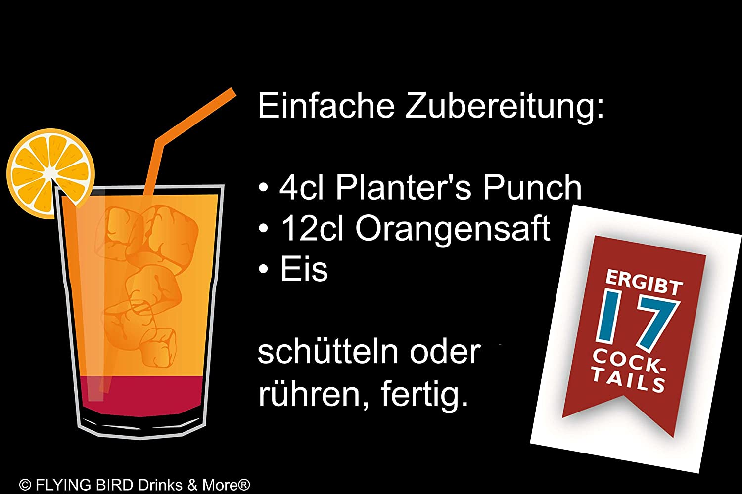 Planter's Punch 28% Vol. - PreMix für 17 alkoholische tails ... on