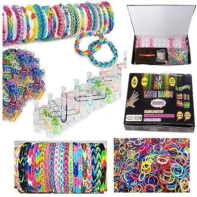 Kit de bracelets colorés pour métier à tisser 600 bracelets/24 clips en S/planche tisser/crochet