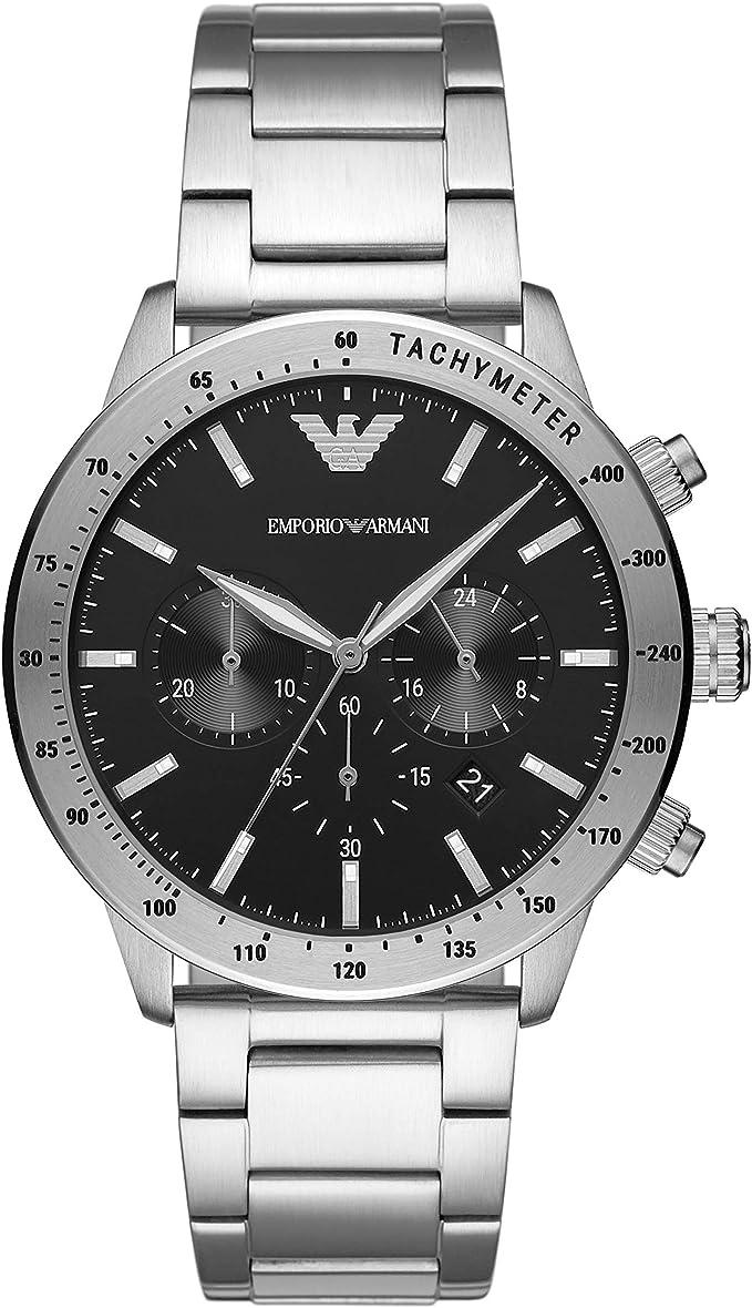 Emporio Armani AR11241 Reloj Armani Caballero, Extensible Acero Plata, Caratula Negro, Analogo for Accesorios, Plata, Hombre Estándar: Amazon.com.mx: Relojes