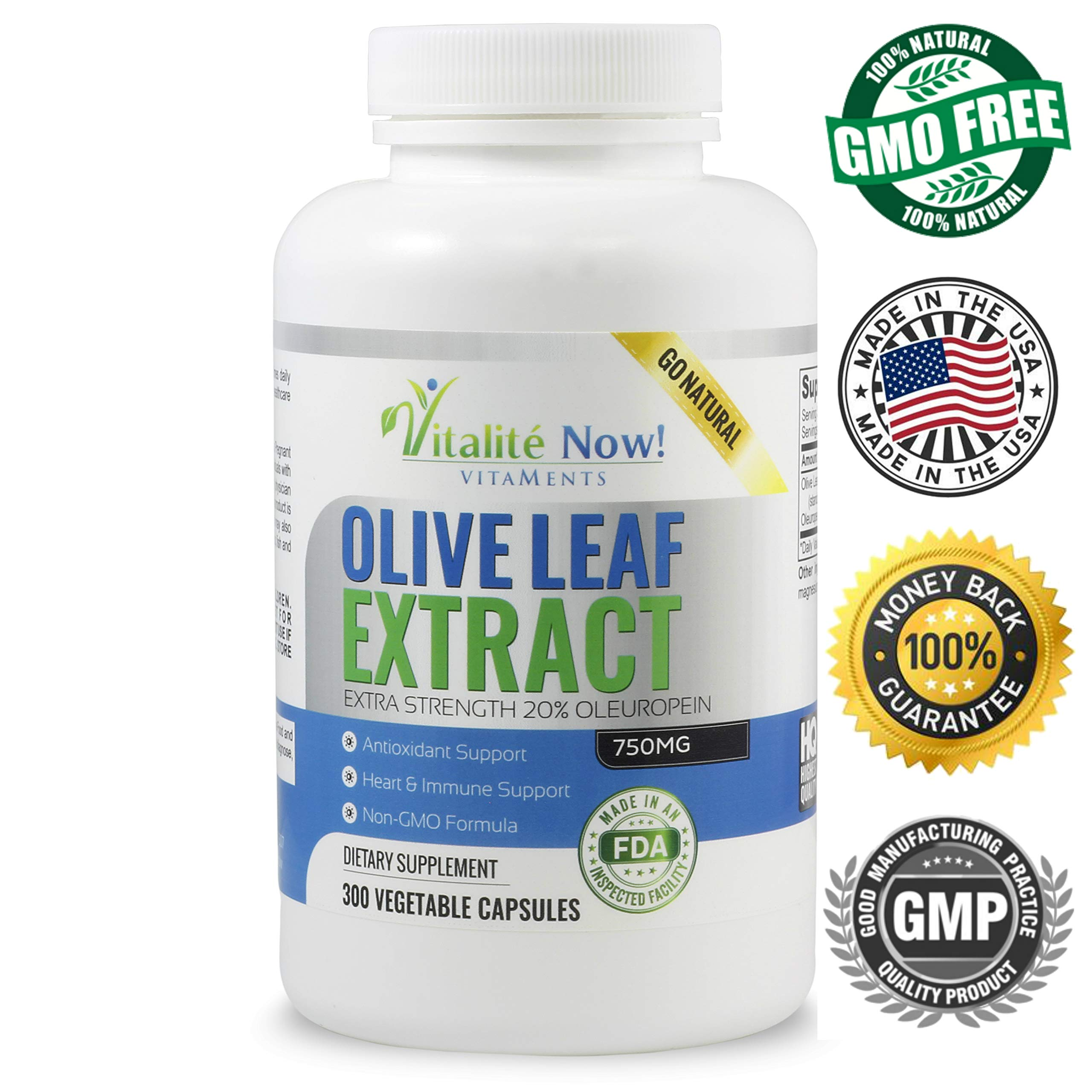 Up Size Super Strength Best Olive Leaf Extract (Non-GMO) - 20% Oleuropein - Anti-inflammatory - Potent Antioxidant & Immune Support Supplement - Up to 9 Months - 750mg Capsules - Vegetarian 300 Count