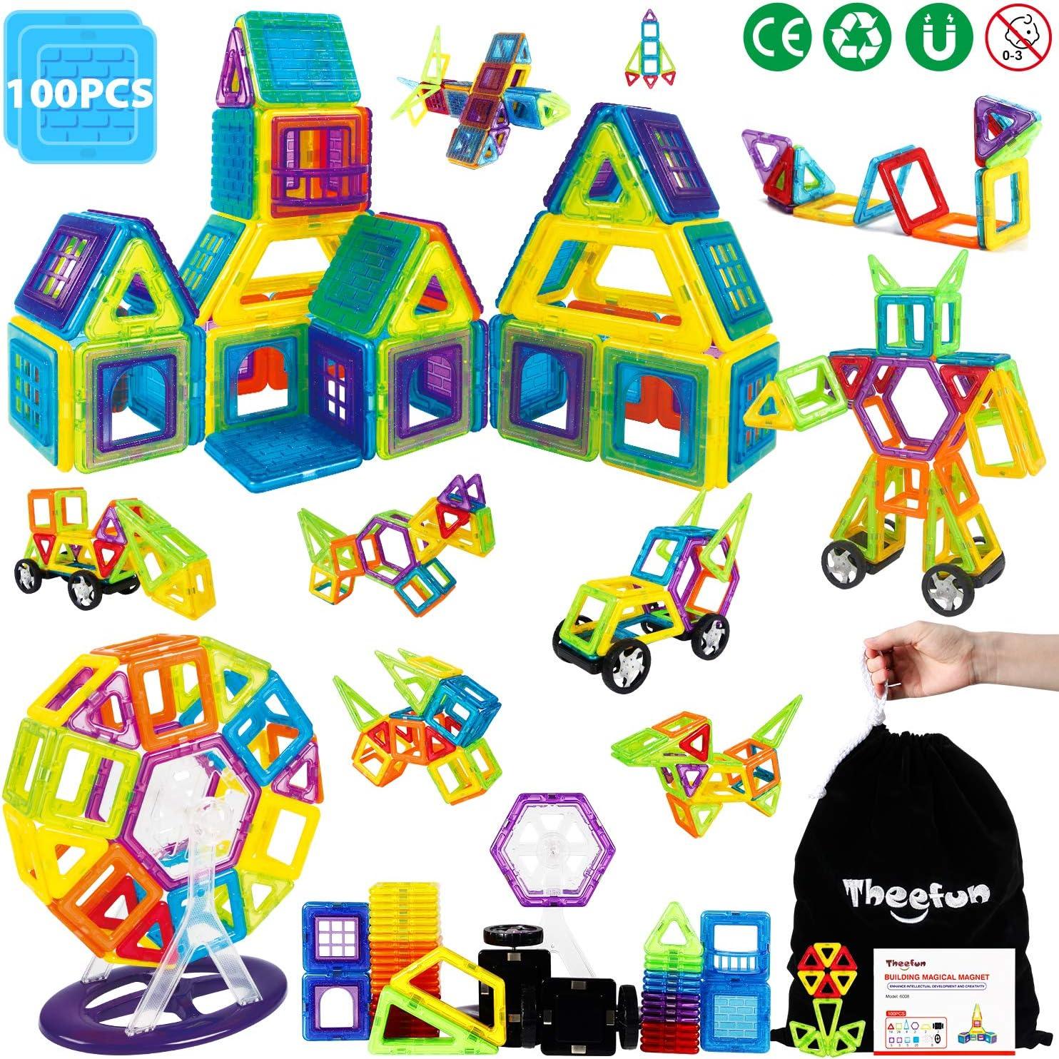 Theefun® Bloques de Construcción Magnéticos Set Arco Iris con 100 Piezas Inspira Set Estándar de Construcción - Juguetes Creativos y Educativos – Bolsa de Almacenamiento
