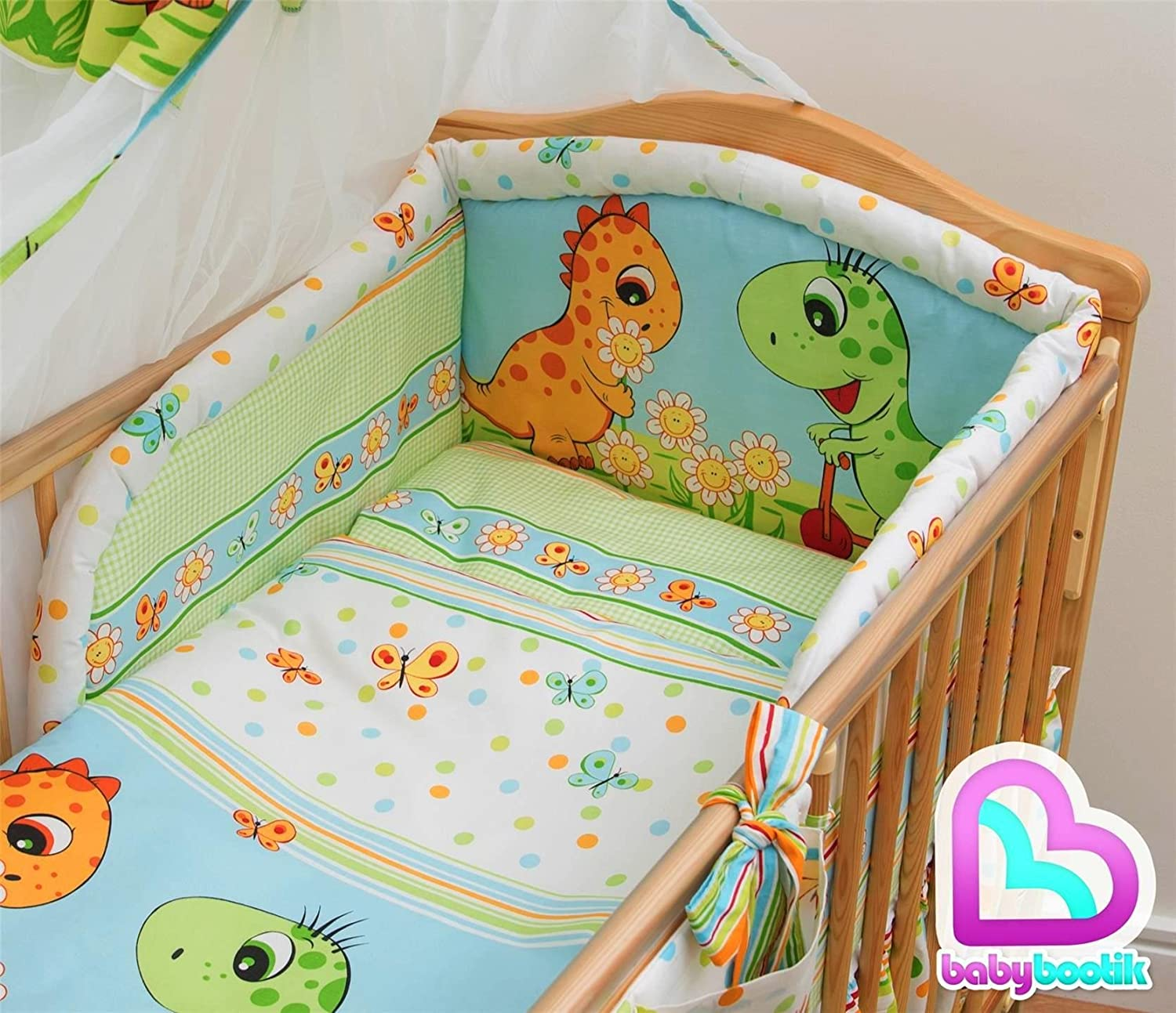 Pattern 9 6 Pcs Baby Cot Bed Bedding with Padded Thick Bumper /& Fitted Sheet 140x70 cm