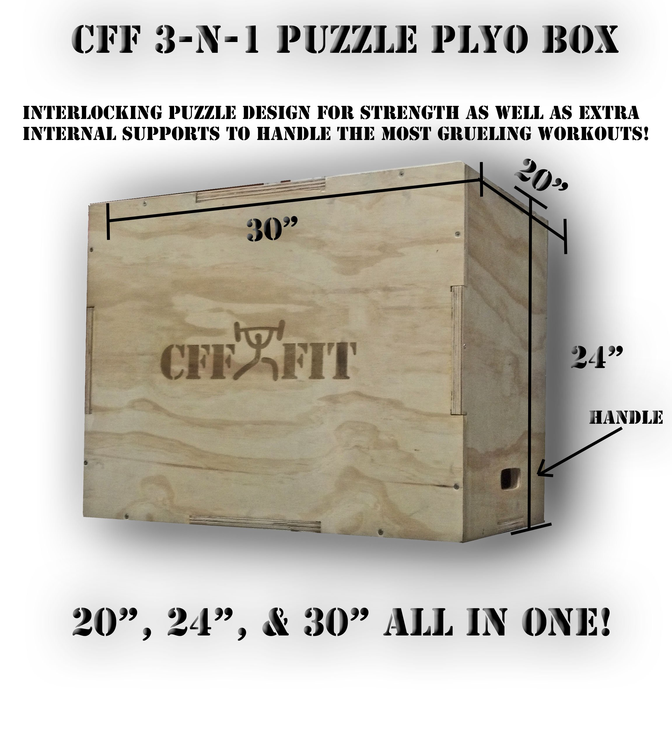 CFF 3 - N - 1 Wood Puzzle Plyo Box - 20/24/30 inch - Great for Cross Training, MMA, or Plyometric Agility Training