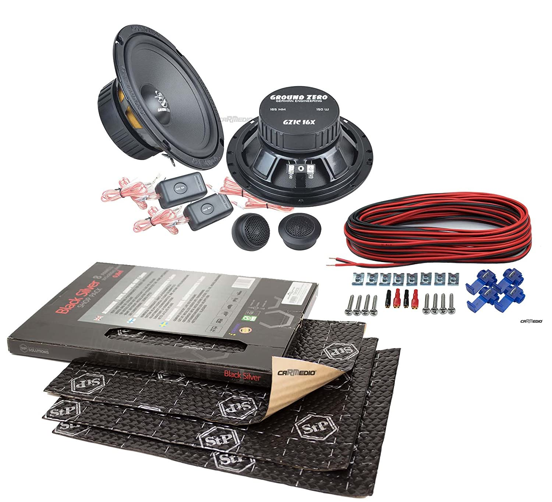 02-08 Seat Ibiza 6L 8 Panels je 375x265x1,8mm Ground Zero Lautsprecher Boxen 165mm Vordere oder Hintere T/üren mit Premium D/ämmung STP Black Silver Shop Pack