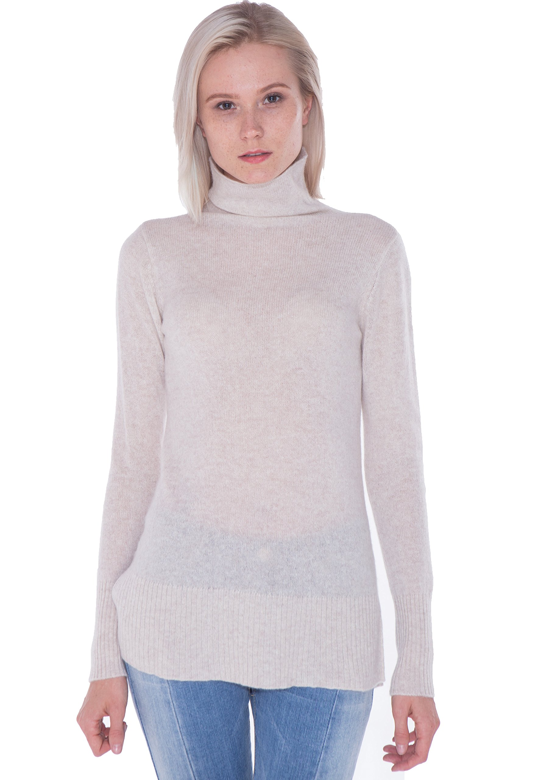 LEBAC Women's 100% Cashmere Thin Long Sleeve Turtleneck Sweater