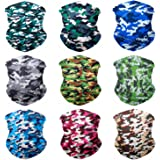 Sojourner 9PCS Seamless Bandanas Face Mask Headband Scarf Headwrap Neckwarmer & More - 12-in-1 Multifunctional for Music Festivals, Raves, Riding, Outdoors(Many Designs)