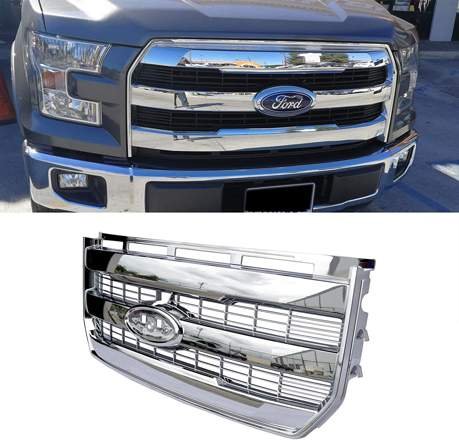 MGPRO 1pc ABS Chrome King Ranch Front Bumper ABS Plastic Grille Style for Ford 2015-2017 F-150 Not For Raptor /& Raptor SVT Models