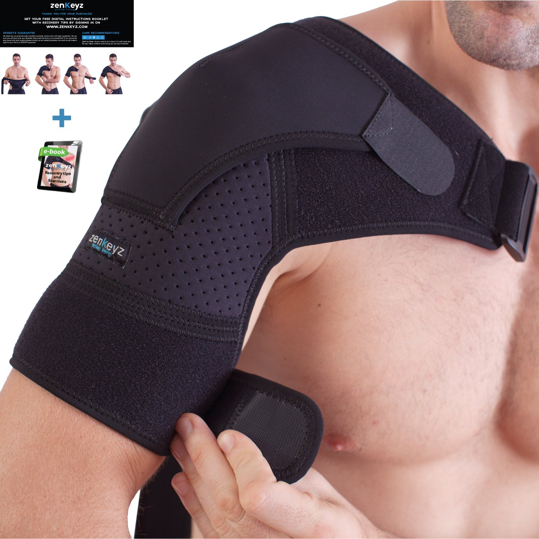 Shoulder Brace for Men and Women+ Bonus - for Torn Rotator Cuff Support,Tendonitis, Dislocation, Bursitis, Neoprene Shoulder Compression Sleeve Wrap by Zenkeyz by ZENKEYZ