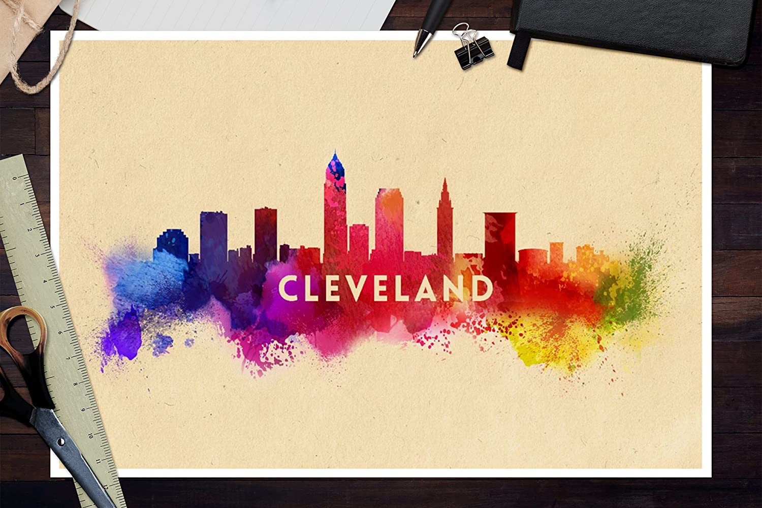 Amazon.com: Cleveland, Ohio - Skyline Abstract (10x15 Wood Wall Sign ...