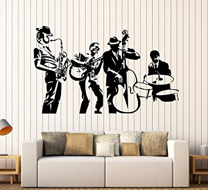Vinyl wall decal jazz band musical art music decor stickers mural large decor ig4054