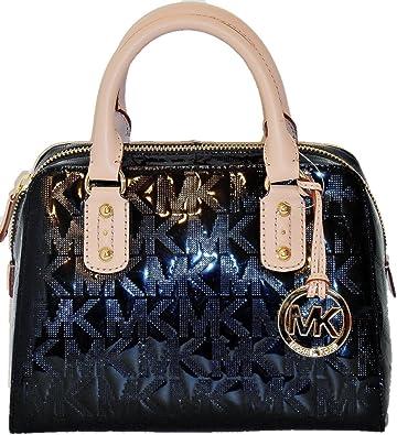 ab6ed8f87255 Amazon.com: Michael Kors Signature Mirror Metallic Small Black Satchel Nwt:  Shoes