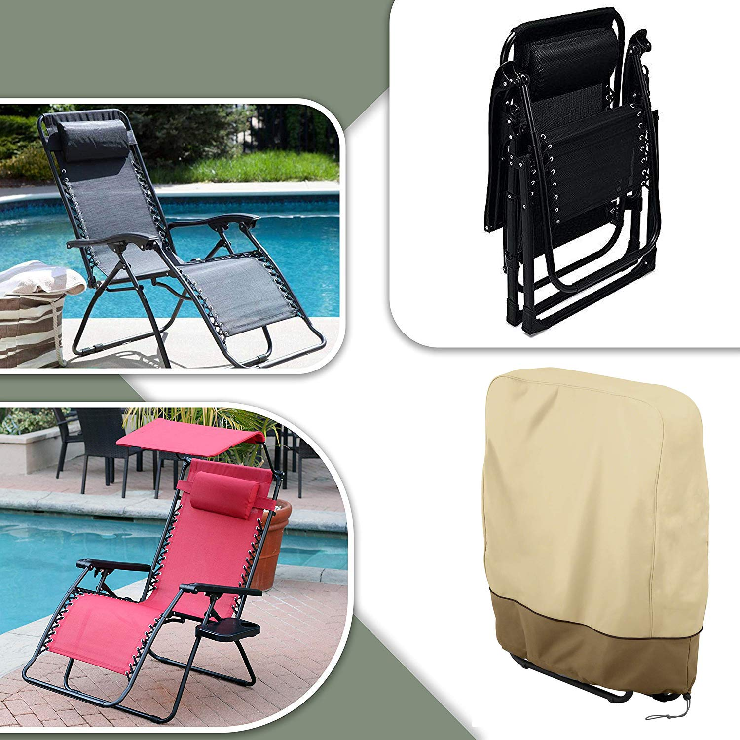 32.3 x 36.6 Holoras Outdoor Zero Gravity Folding Chair Cover Waterproof and UV Resistant