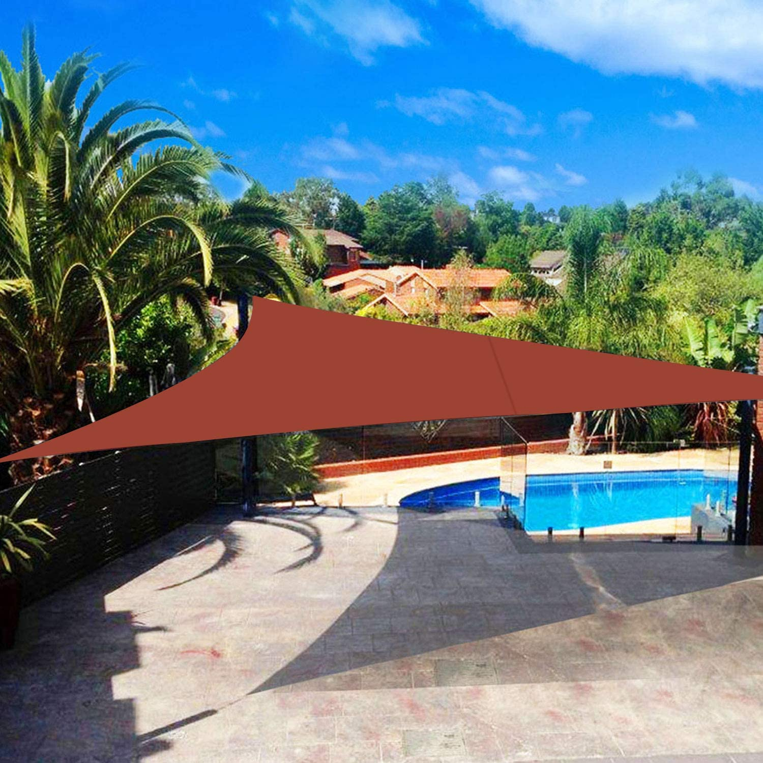 Shade&Beyond Sun Shade Sail Triangle 20'x20'x20' UV Block for Yard Patio Lawn Garden Deck Rust Red Color