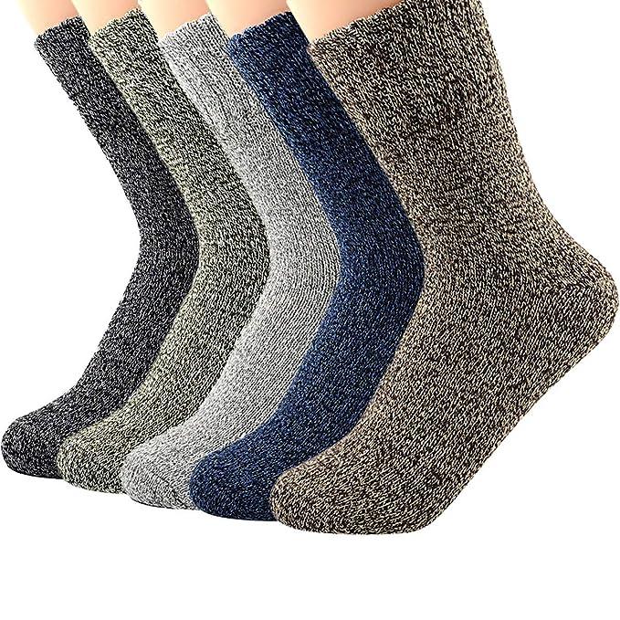 Chalier 5 Pares de Calcetines T/érmicos Mujer Calcetines Termicos Invierno Grueso Antideslizante de Lana para Mujeres