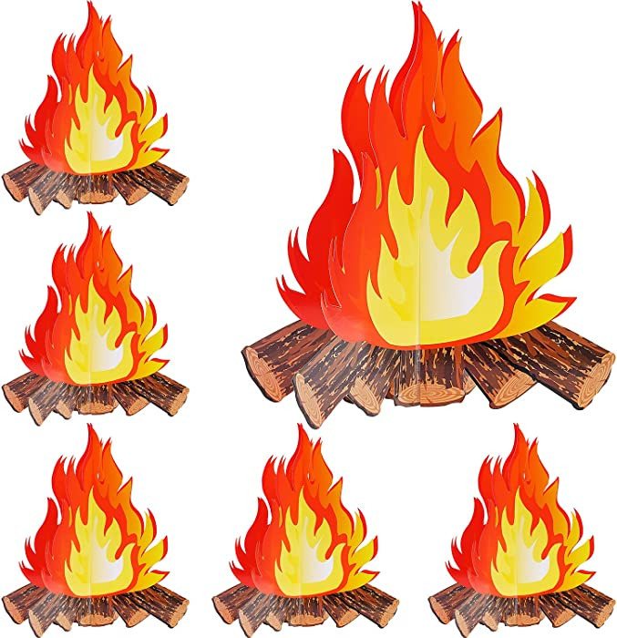 6 Set Artificial Fire Fake Flame Paper 3D Campfire Centerpiece Cardboard Flame Torch for Campfire Party Decoration, 12 Inch Tall