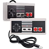 TRIXES Pack of 2 NES Controllers - USB Retro Gaming Joypads for PC Computer MAC Raspberry Pi Wii U