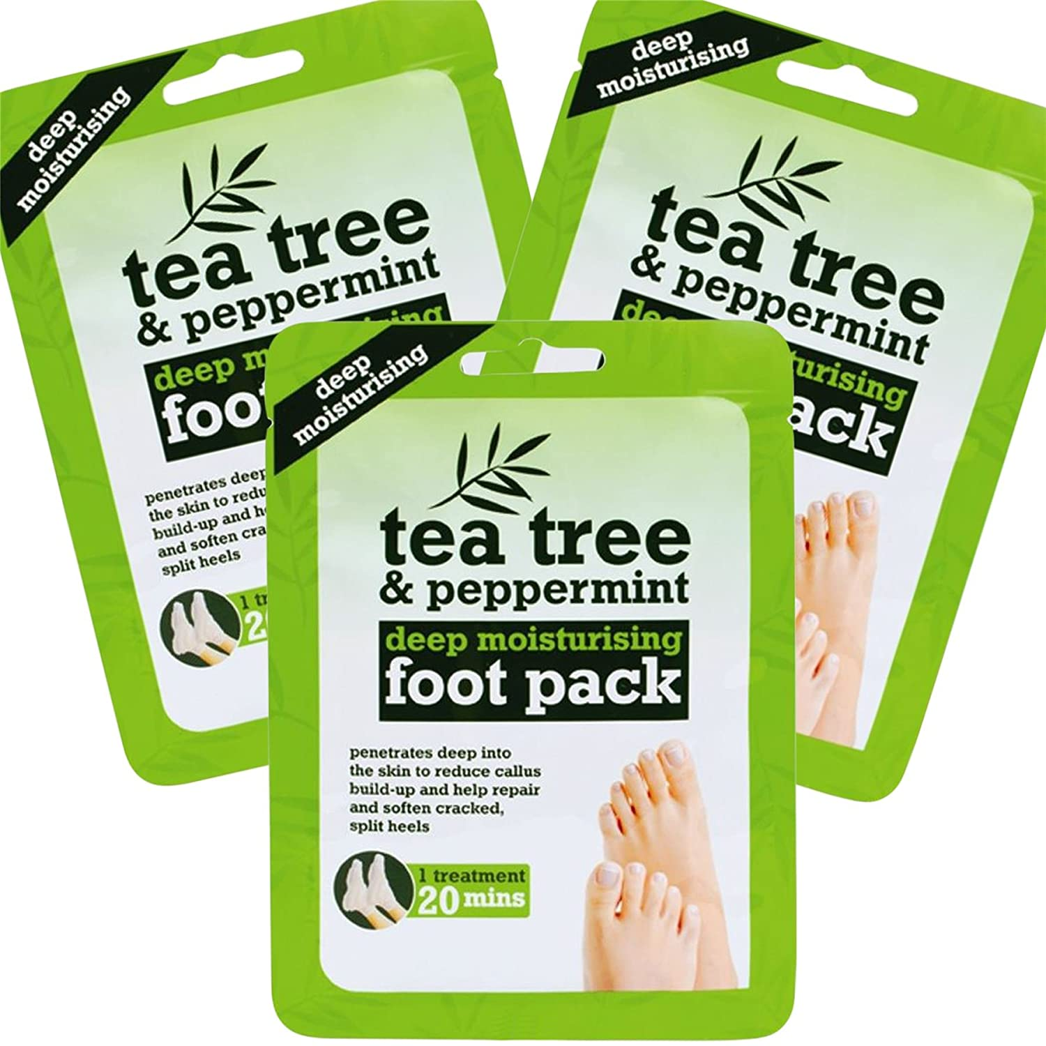 3x Tea Tree Peppermint & Shea Butter Foot Treatment Packs White Hinge