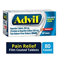 Advil Film Coated Tablet Pain Reliever and Fever Reducer, Ibuprofen 200mg, 80 Count...