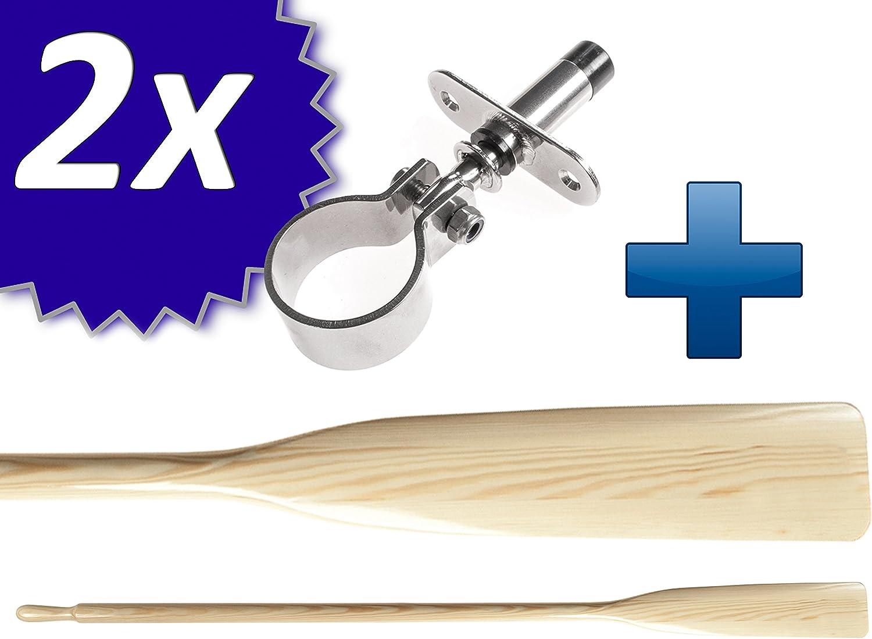 Sportseller Lot de 2 ramequins en bois et acier inoxydable avec 2 roulements /à canne 180//195//210//225//240 cm