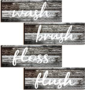 4 Pieces Farmhouse Bathroom Wall Decors Wash Brush Floss Flush Signs Rustic Hanging Wooden Signs Primitive Bathroom Wall Arts Vintage Wooden Decorations for Home Laundry Room Bathroom (Antique Gray)