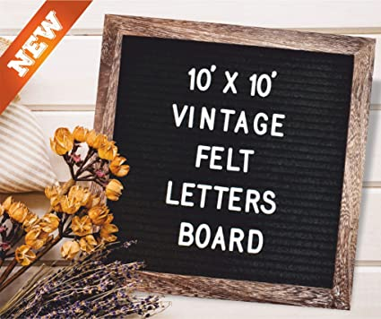 rustic frame black felt letter board 10x10 changeable white letters numbers emojis signs
