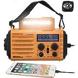 5-Way Powered Solar Hand Crank NOAA Weather Alert Radio,AM/FM Shortwave Survival Portable Outdoor Emergency Radio,2500mAh Rec