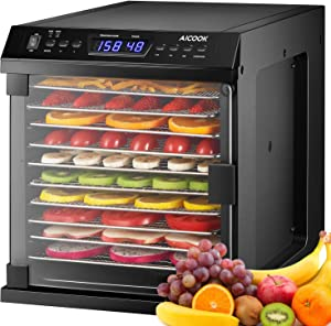 Dehydrator,【Upgraded】AICOOK 11 Stainless Steel Trays Food Dehydrator Machine with Digital Timer and Temperature Control, 2 Mode for Beef Jerky, Dog Treats, Fruit, Vegetable & Herb, ETL Listed/FDA Compliant