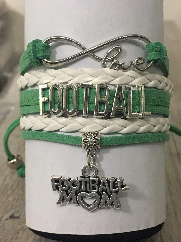 Football Mom Jewelry-Football Mom Bracelet Womens Football Charm Bracelet for Football Moms