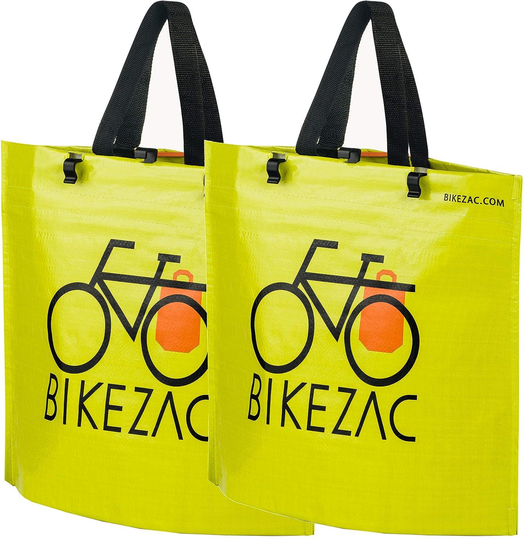 BikeZac Clip-on EINKAUFS-FAHRRADTASCHE | Einseitige Einkaufstasche | Gepäckträgertasche | Faltbar | Wasserabweisend | Trageschlaufen | Ökologisch BikeZac:Black Plain