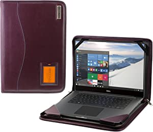 "Broonel - Contour Series - Purple Heavy Duty Vegan Leather Protective Case Cover Compatible with The DELL Inspiron 15 5000 15.6"" Laptop - Purple"