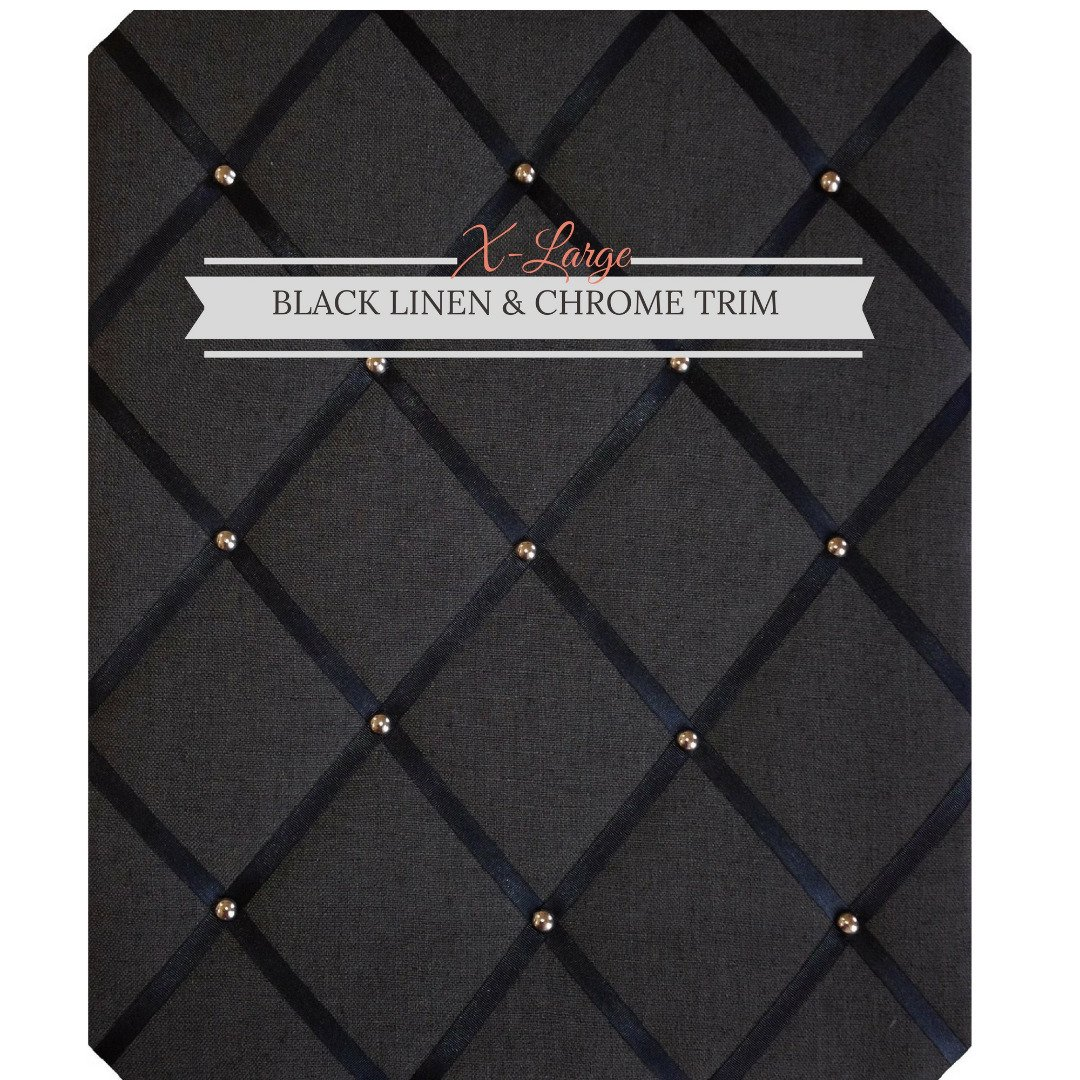 X Large Size Black Linen Memo Board with Chrome Studwork by Notice Board Store