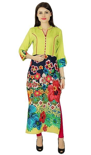 Bollywood Diseñador Rayón 3/4 Kurti mujeres vestido floral étnico tapa de la túnica: Amazon.es: Ropa y accesorios