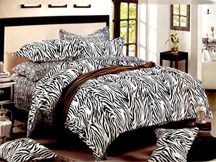 MARCOPOLO BLACK U0026 WHITE ZEBRA PRINT DOUBLE XL BEDSHEET WITH PILLOW COVERS,  100% COTTON