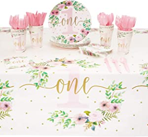 1st Birthday Party Supplies, Dinnerware and Tablecloth (Serves 24, 145 Pieces)