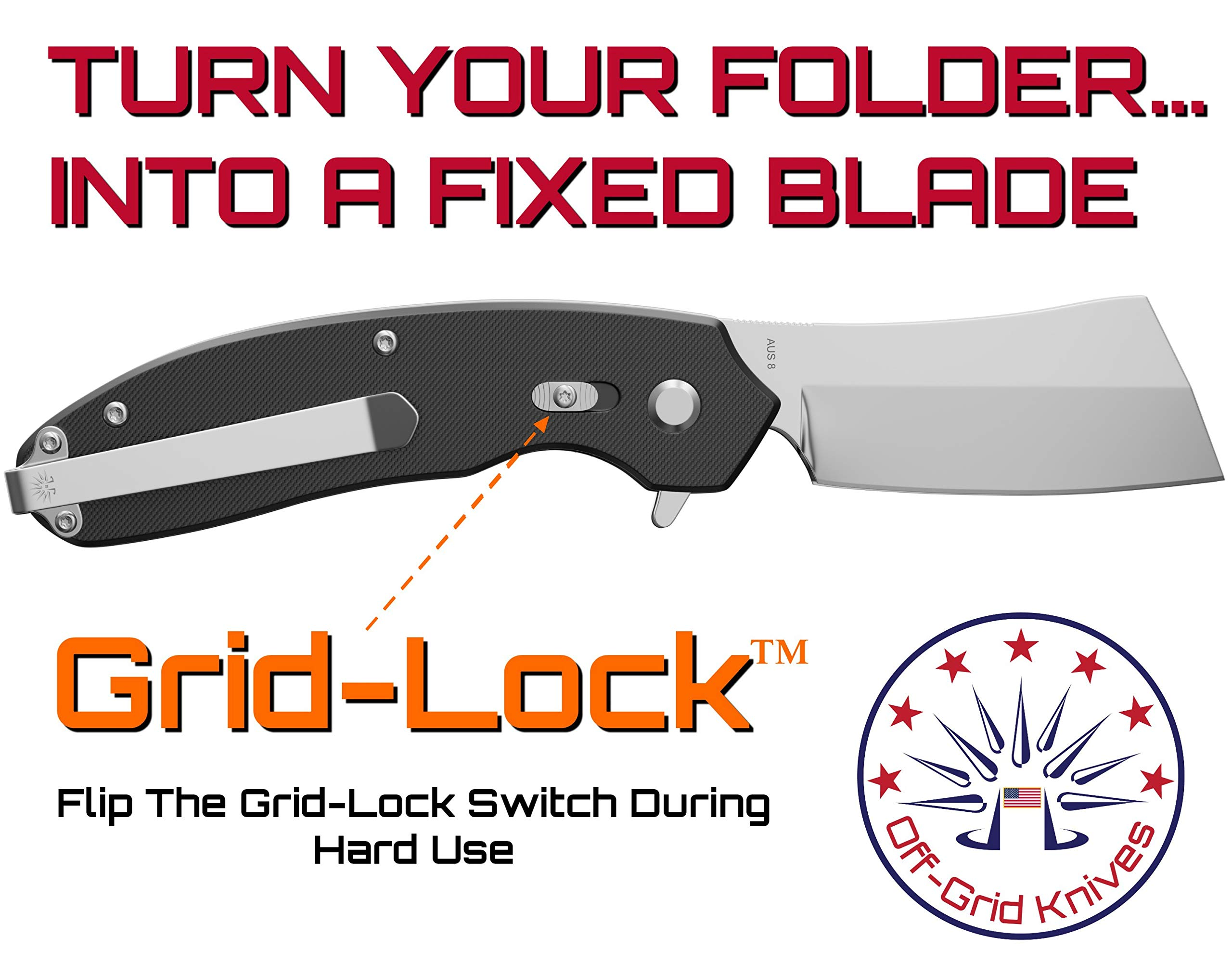 Off-Grid Knives - Cleaver Compact EDC Folding Knife, Satin Finish, Safety Grid-Lock Turns This Folder Into A Fixed Blade, Cryo AUS8 Blade Steel, G10 Handle & Tip-Up Reversible Deep Carry Pocket Clip by Off-Grid Knives (Image #3)