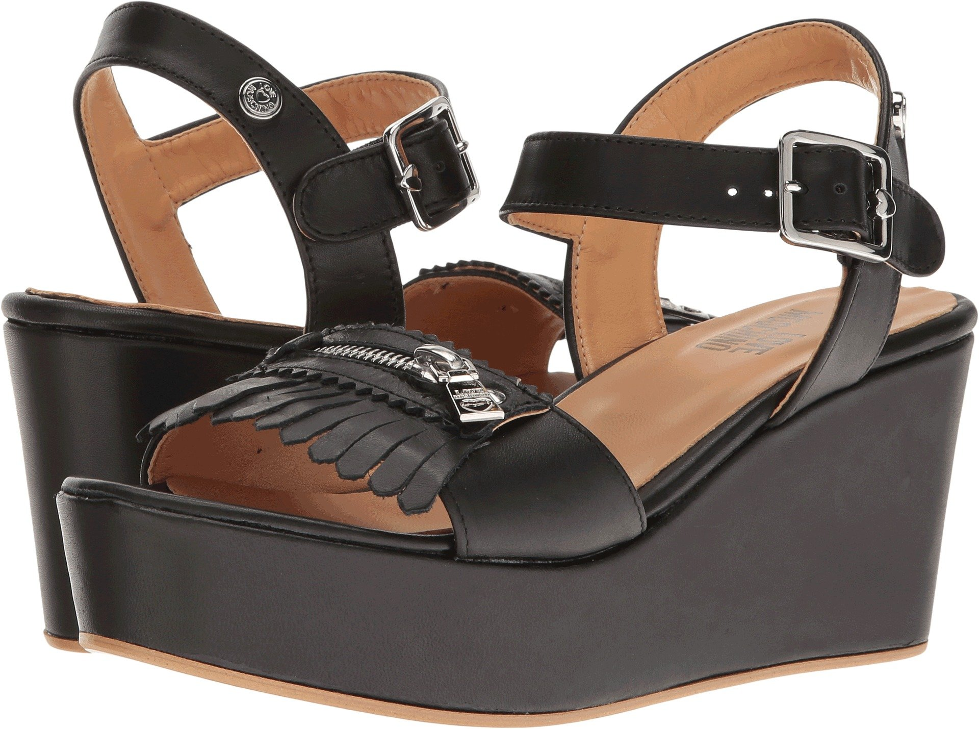 LOVE Moschino Women's Fringe Platform Black Sandal