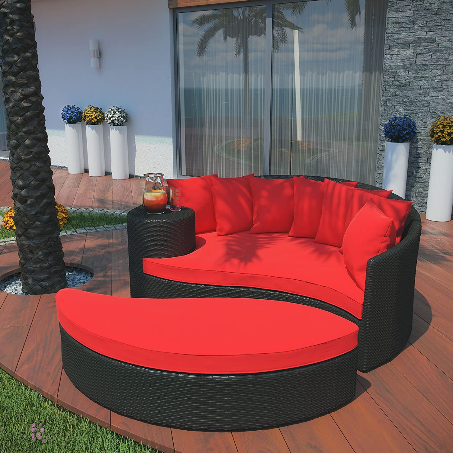 Amazon.com : Modway Taiji Outdoor Wicker Patio Daybed with Ottoman in  Espresso with Red Cushions : Patio Lounge Chairs : Garden & Outdoor
