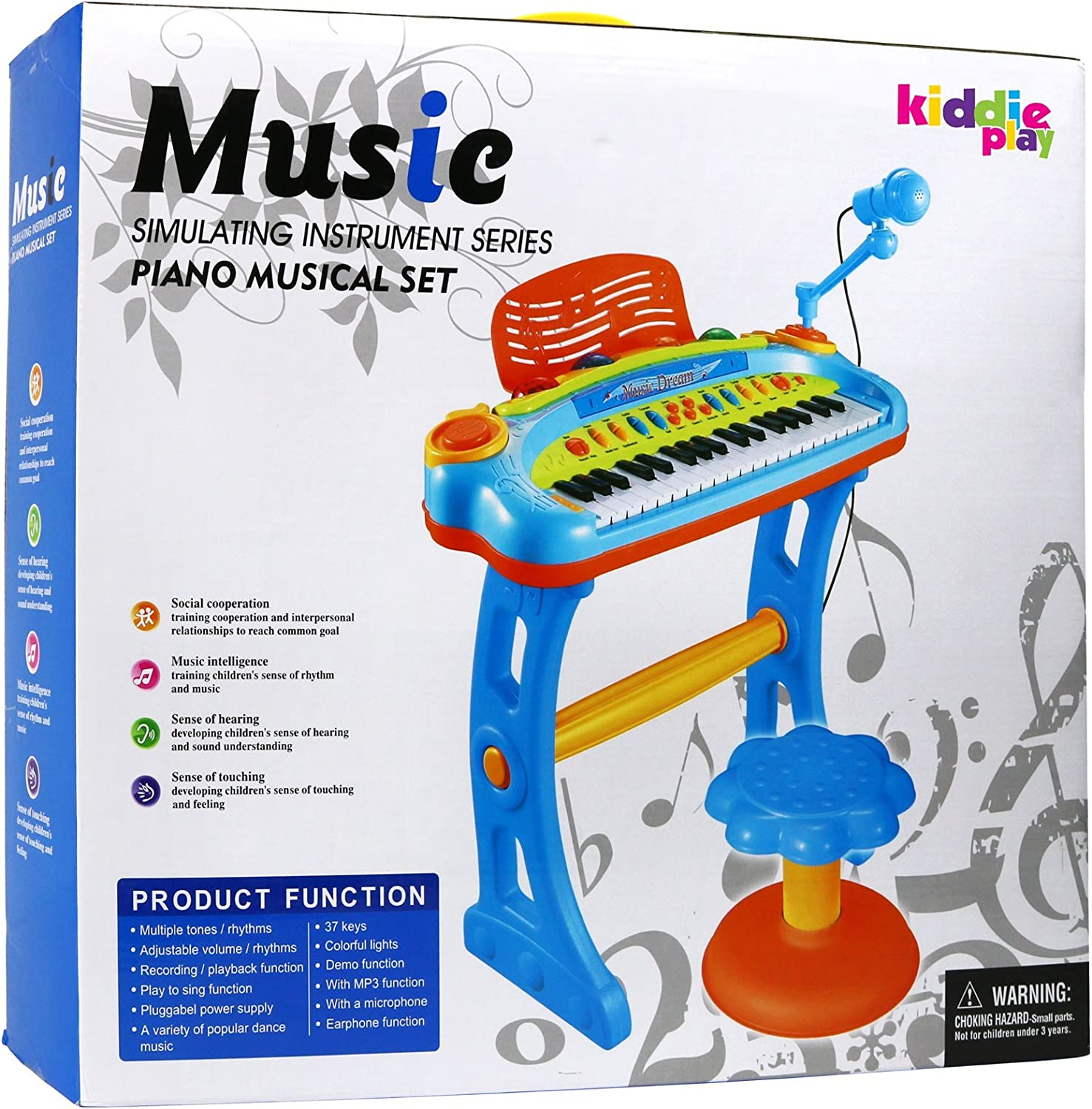 NEW KIDS MUSICAL TOY ROCKSTAR KEYBOARD PIANO TUNE SET WITH 8 SONG FLASHING LIGHT